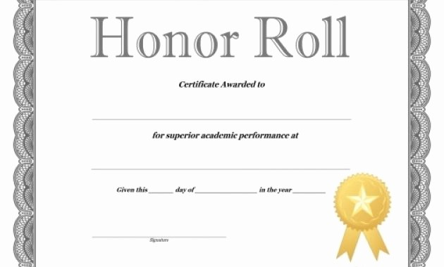 Honor Roll Certificate Template Word Awesome Free Honor Roll Certificate Template Microsoft Word Honor