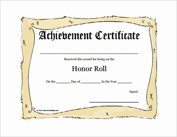 Honor Roll Certificate Template Word Beautiful 8 Printable Honor Roll Certificate Templates & Samples