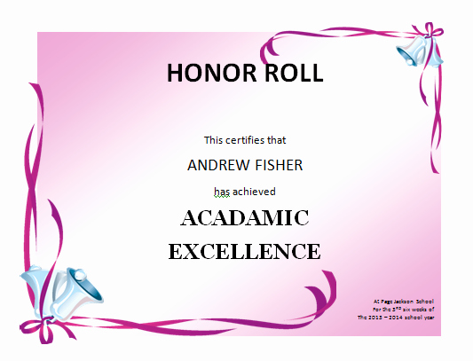 Honor Roll Certificate Template Word Beautiful Honor Roll Certificate Template Microsoft Word Templates