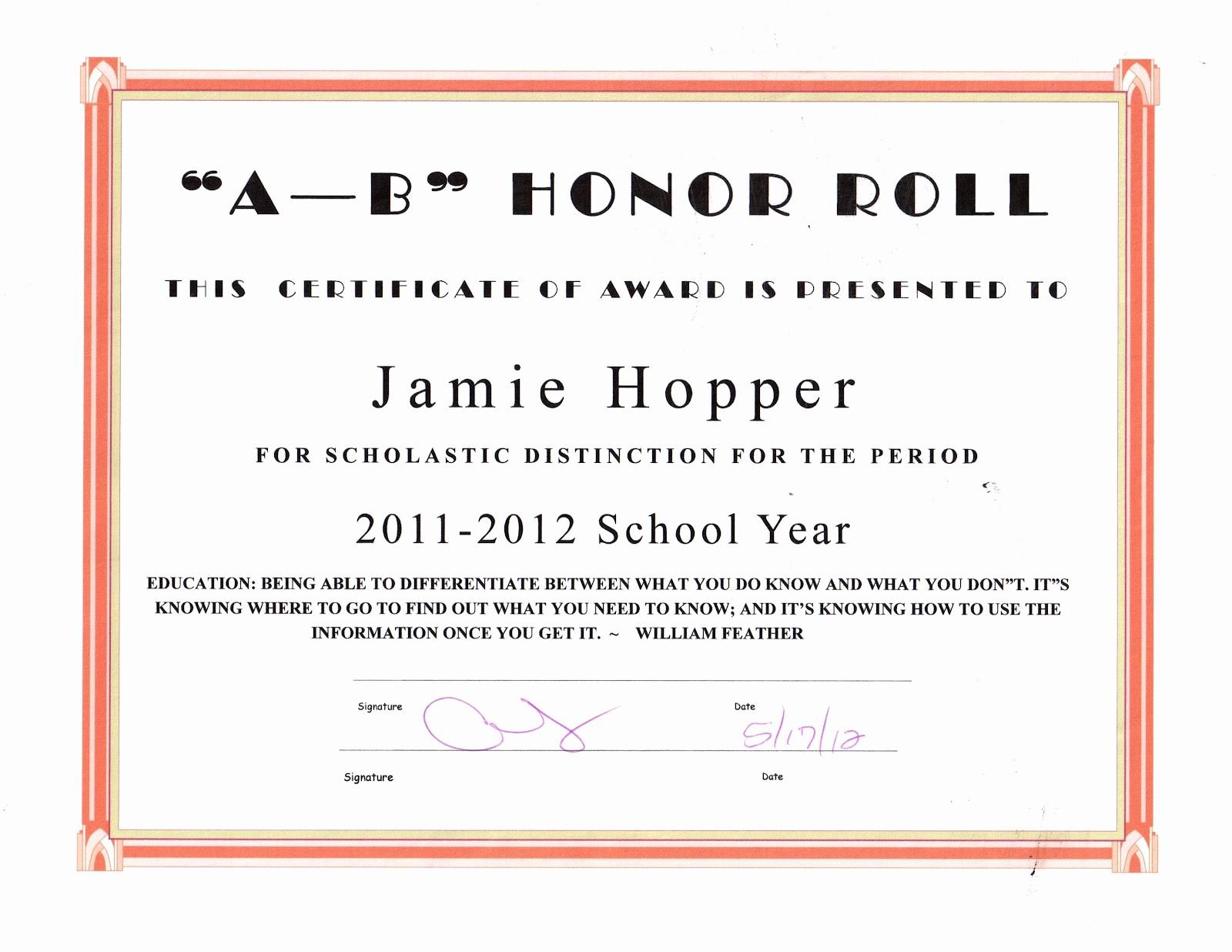Honor Roll Certificate Template Word Elegant the Jason Hopper Family June 2012