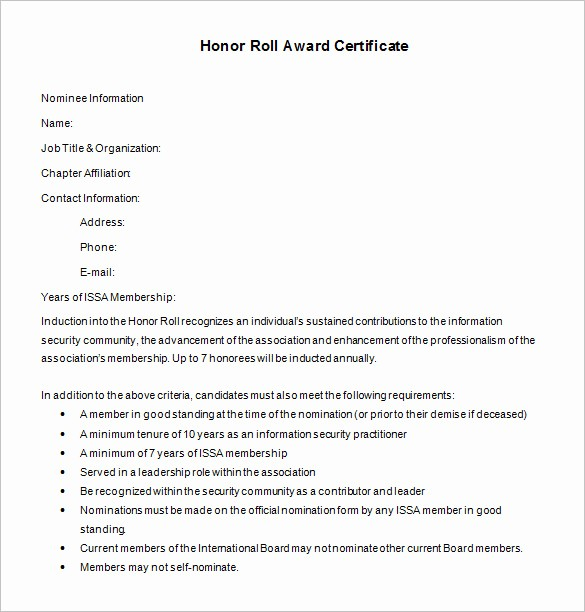 Honor Roll Certificate Template Word Fresh 8 Printable Honor Roll Certificate Templates & Samples