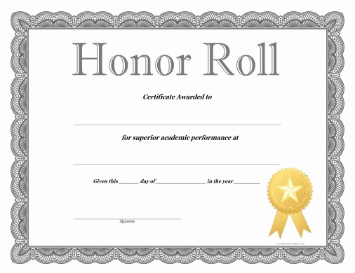 Honor Roll Certificate Template Word Lovely Honor Roll Certificate Free Printable Allfreeprintable