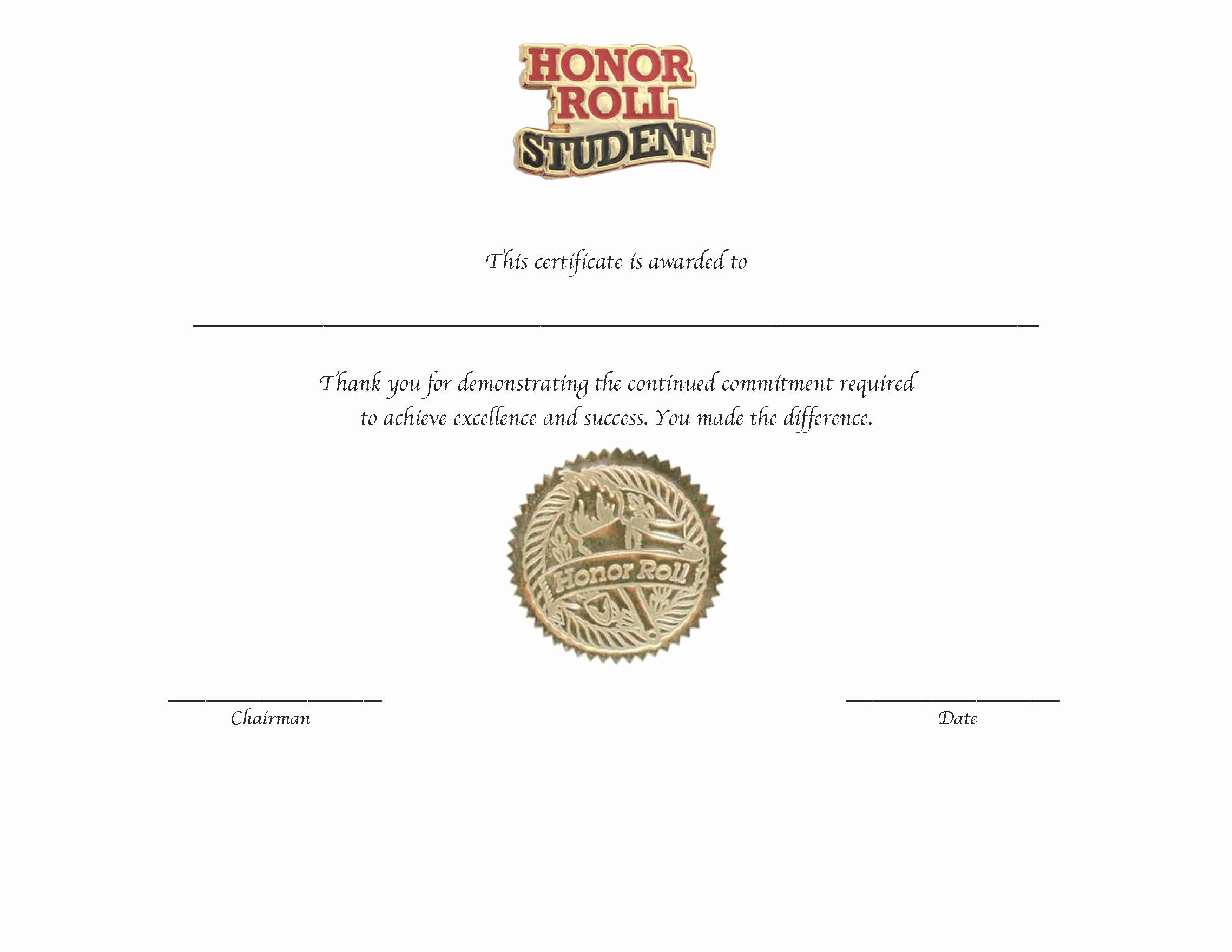 post honor roll certificate template
