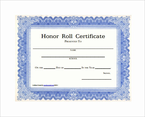 Honor Roll Certificate Template Word New 8 Printable Honor Roll Certificate Templates & Samples