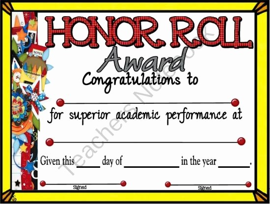 Honor Roll Certificate Template Word New Honor Roll Certificate 5 From A Teacher In Paradise On