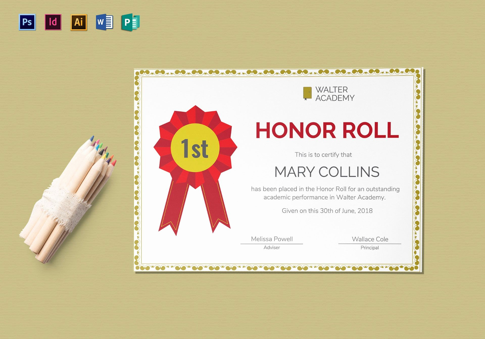 Honor Roll Certificate Template Word New Honor Roll Certificate Design Template In Psd Word