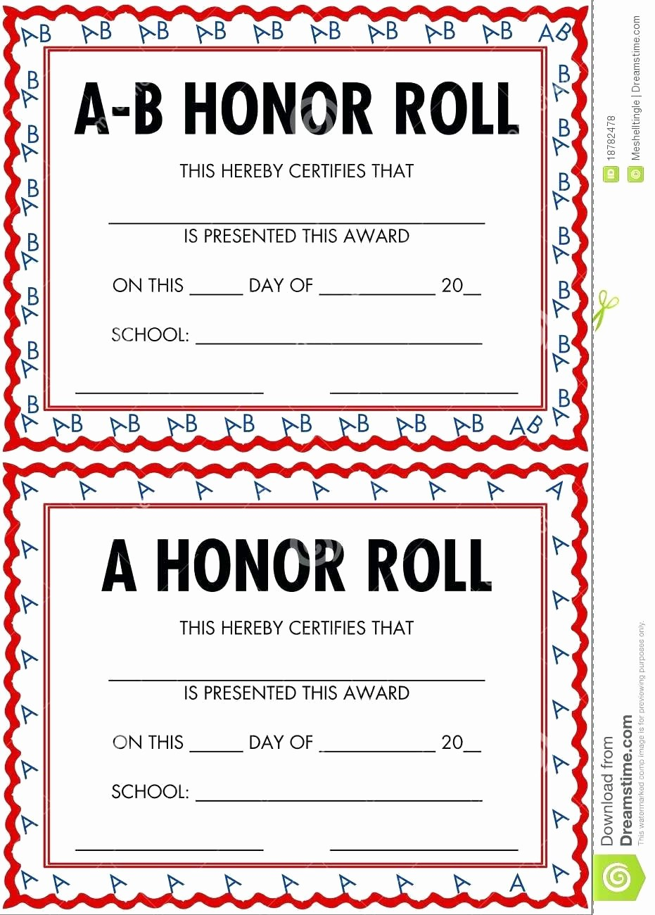 Honor Roll Certificate Template Word New Template Honor Roll Certificate Template