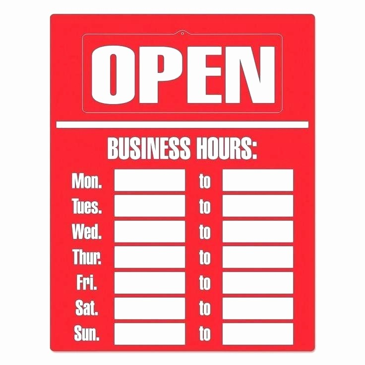 Hours Of Operation Template Word Elegant Free Printable Business Hours Sign Template Operation