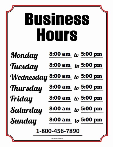 Hours Of Operation Template Word Fresh Business Hours Sign Free Printable Allfreeprintable