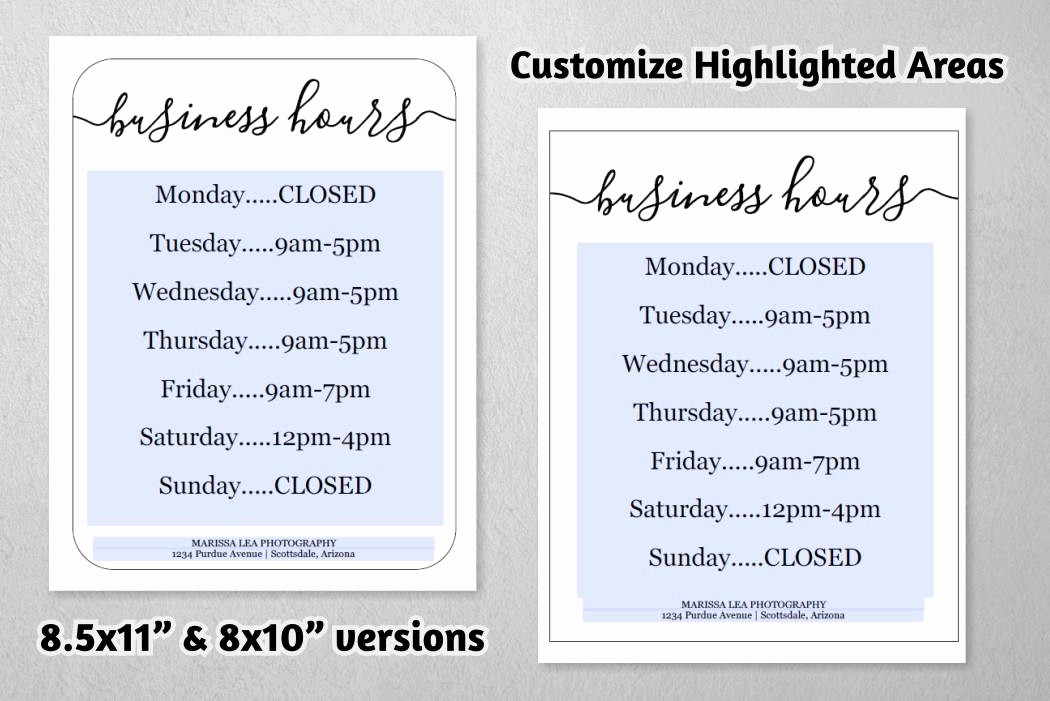 Hours Of Operation Template Word Inspirational Business Hours Sign Printable Template Hours Of