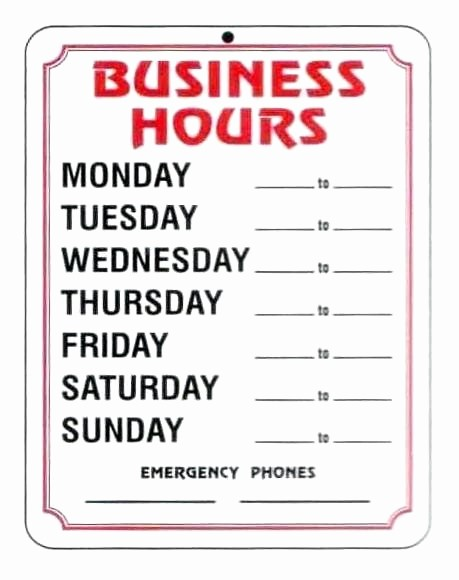 Hours Of Operation Template Word Inspirational Fice Closed Sign Free Printable Throughout Template for