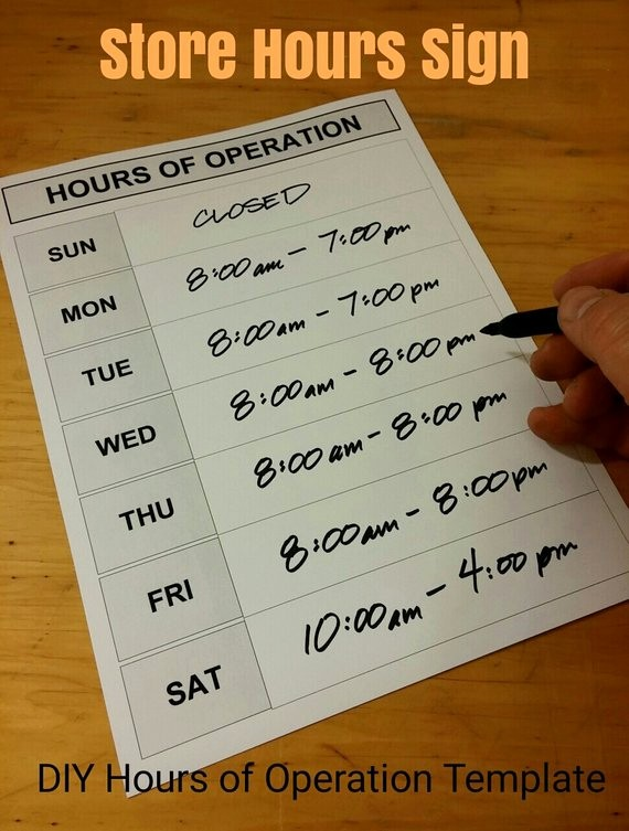 Hours Of Operation Template Word Luxury Weekly Hours Sign Diy Printable Blank Store Door Schedule