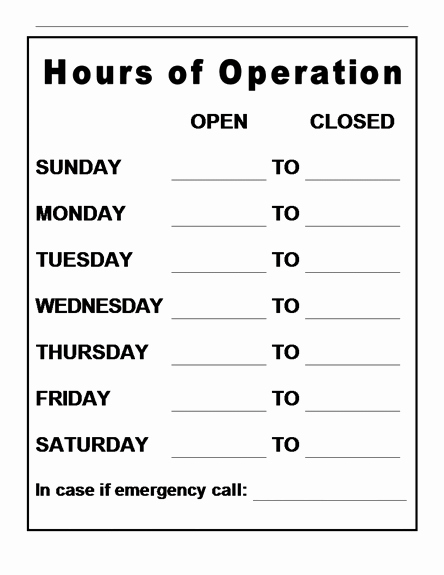 Hours Of Operation Template Word New Hours Operation Template