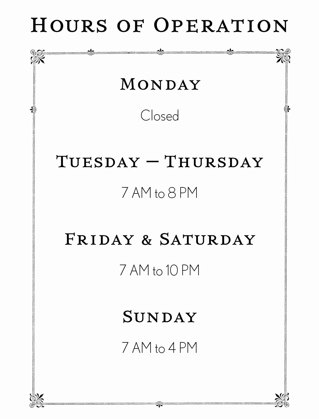 Hours Of Operation Template Word Unique Hours Operation Template