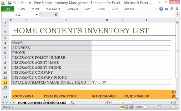 House Contents List for Insurance Elegant Free Simple Inventory Management Template for Excel