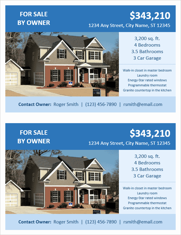 House for Sale Flyer Template Beautiful Fsbo Flyer Template 2 Per Page by Vertex42