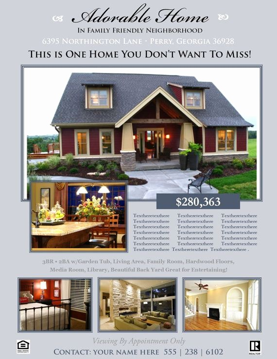 House for Sale Flyer Template Elegant Real Estate Flyer Open House or for Sale Flyer for Sale by