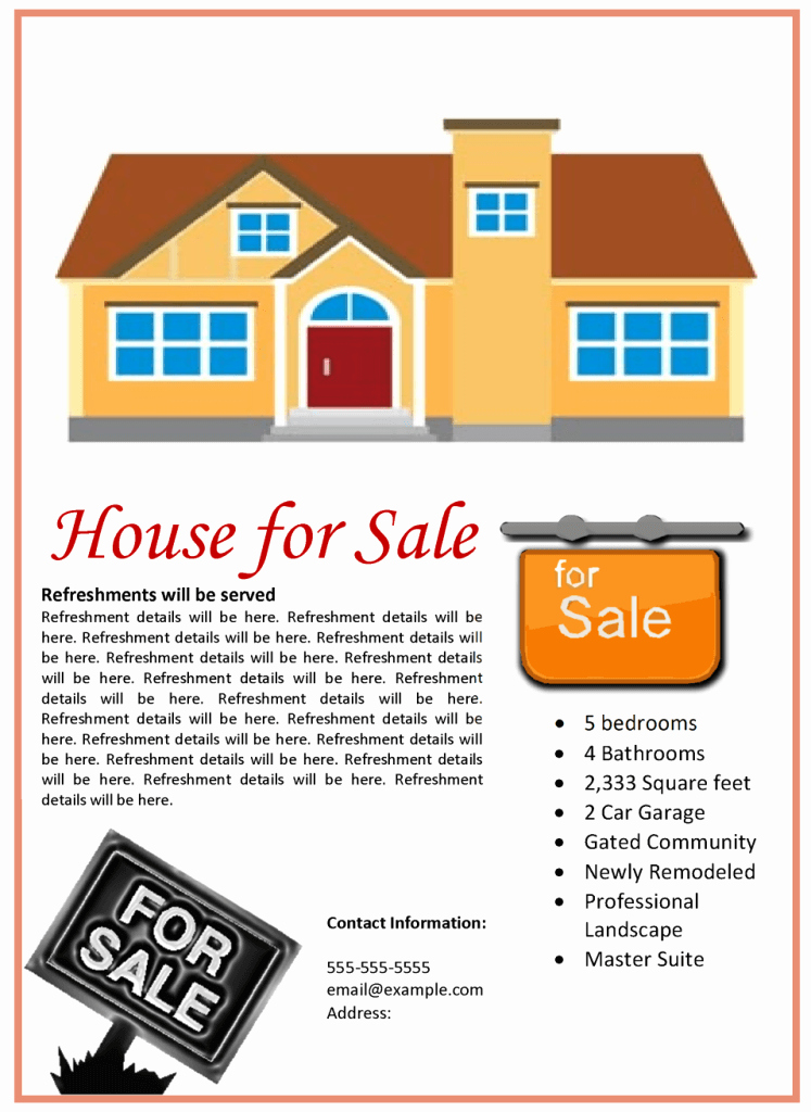 House for Sale Flyer Template Fresh House for Sale Flyer Template