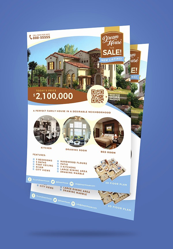 House for Sale Flyer Template Lovely Free Real Estate House for Sale Flyer Design Template