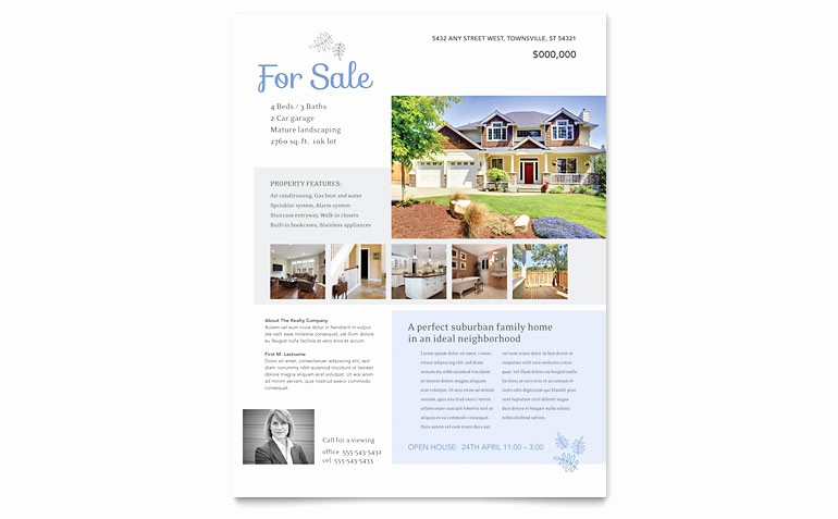 House for Sale Flyer Template Lovely Real Estate Listing Flyer Template Word & Publisher