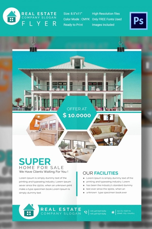 House for Sale Flyer Template New 15 Stylish House for Sale Flyer Templates & Designs