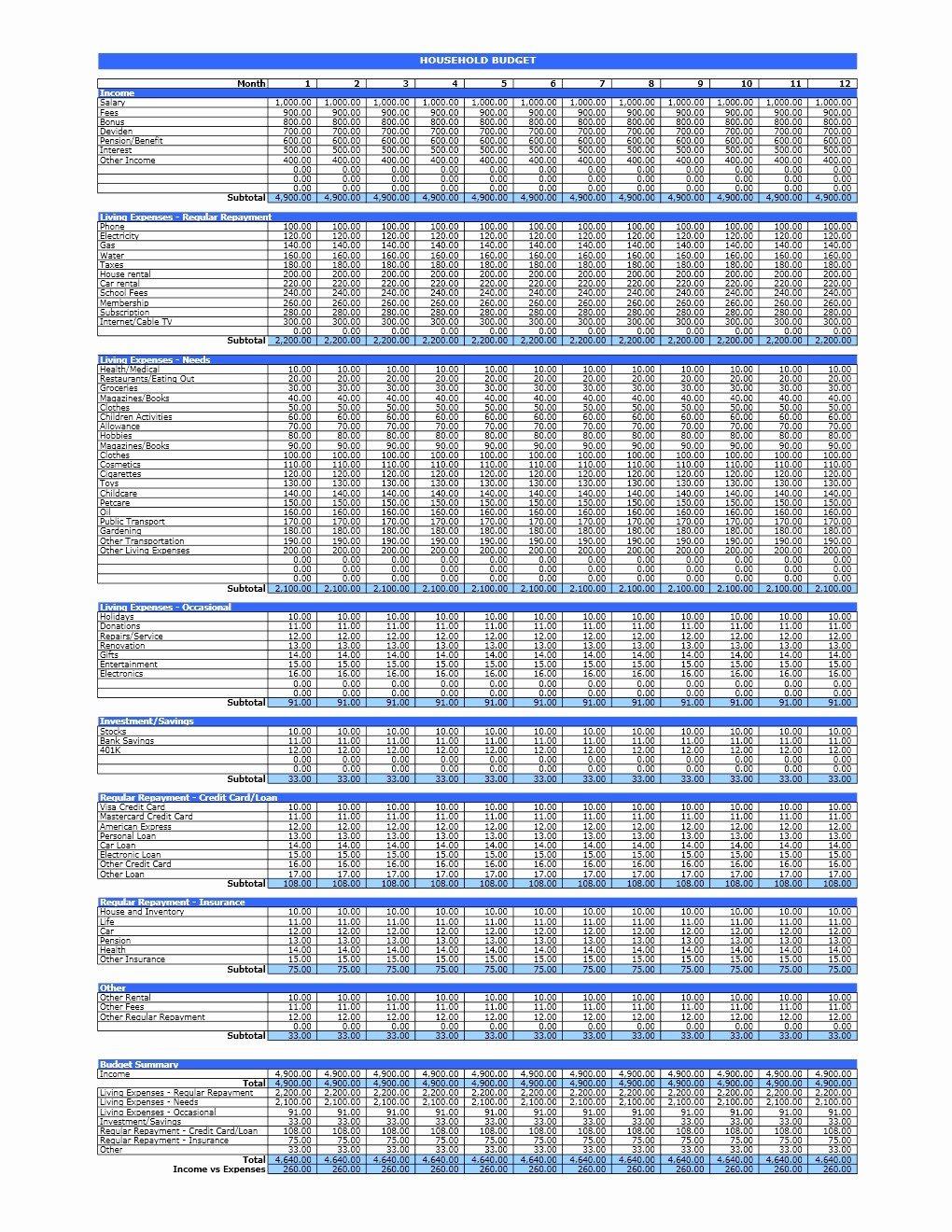 Household Budget Spreadsheet Template Free Best Of Household Bud