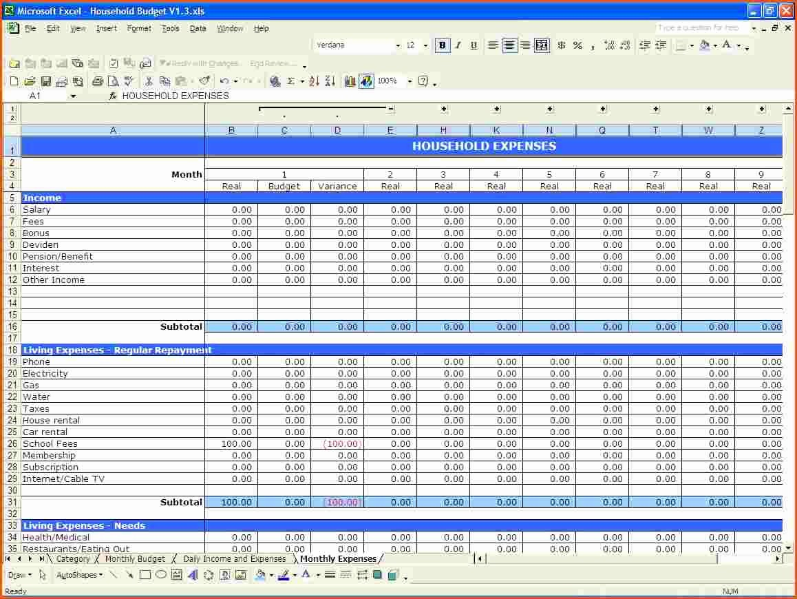 Household Budget Spreadsheet Template Free Elegant Template Bud Spreadsheet Bud Spreadsheet Spreadsheet