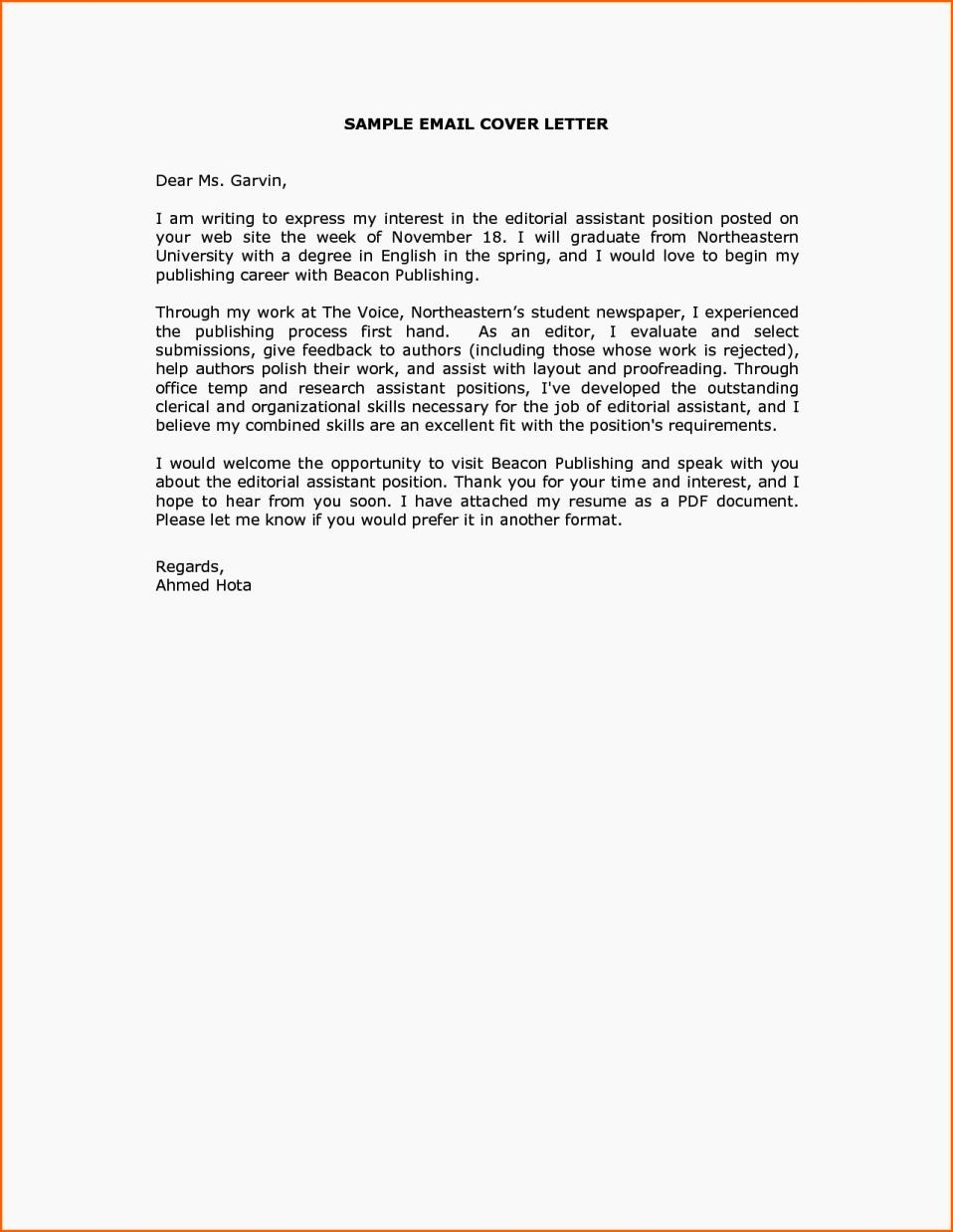 How to Cover Letter Template Awesome Cover Letter Sample Email Message