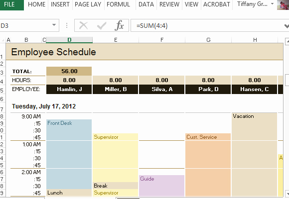 How to Create A Tracker Lovely Employee Schedule & Hourly Increment Template for Excel