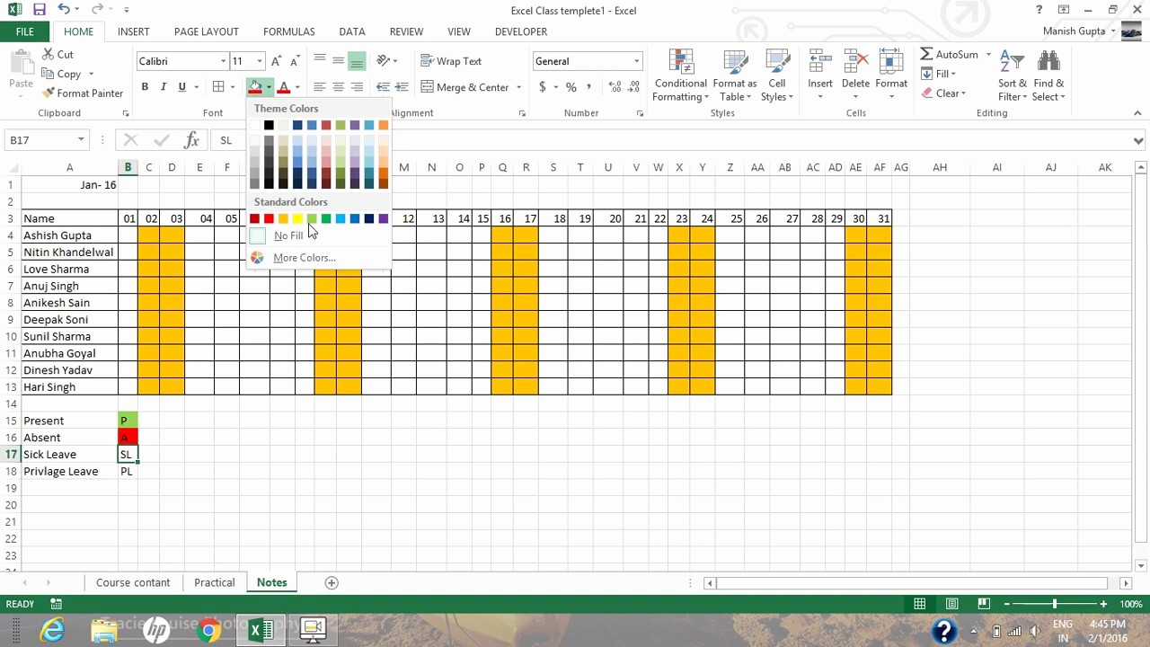 How to Create A Tracker Unique How to Create Auto Update attendance Tracker In Excel 2013