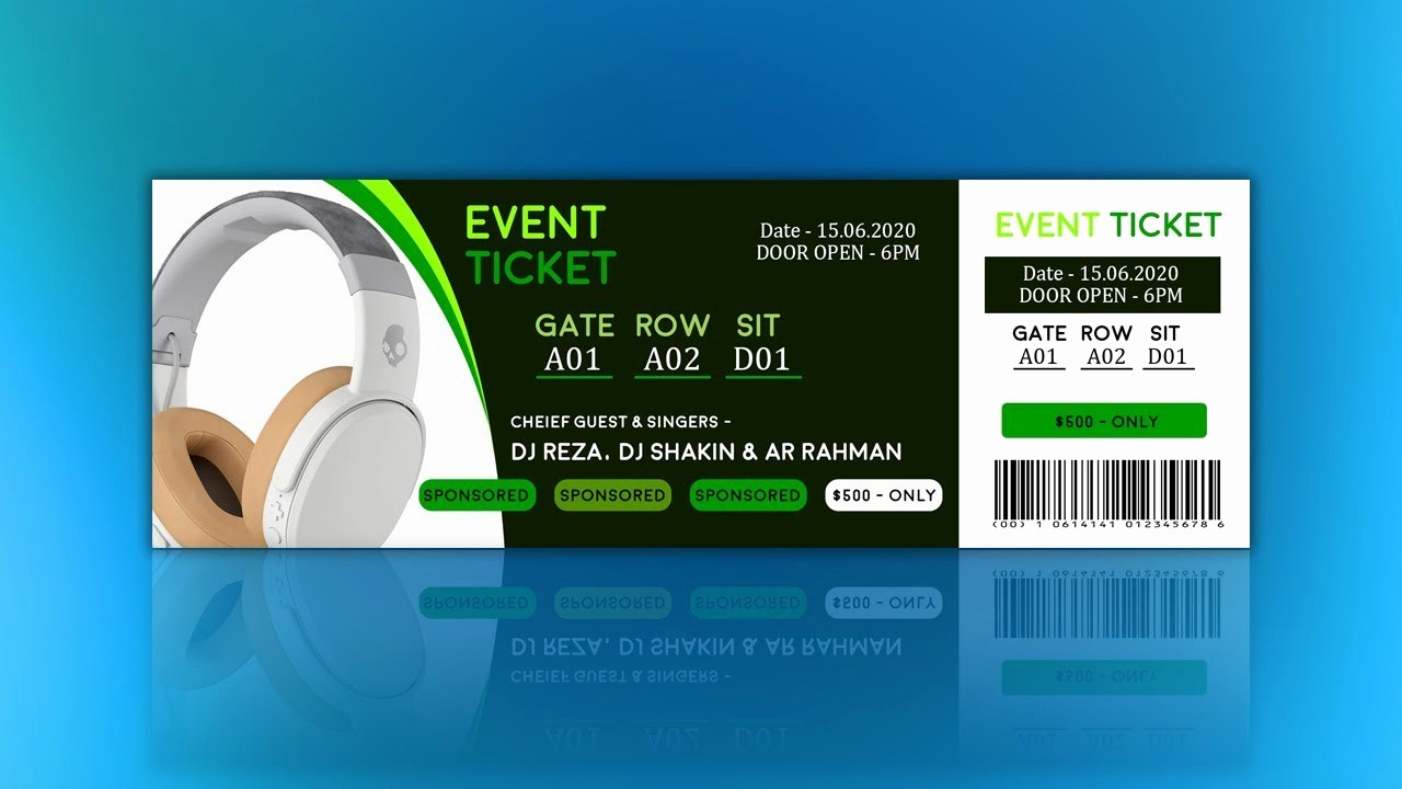 How to Create event Tickets Awesome How to Create event Ticket Design Tutorial In Shop