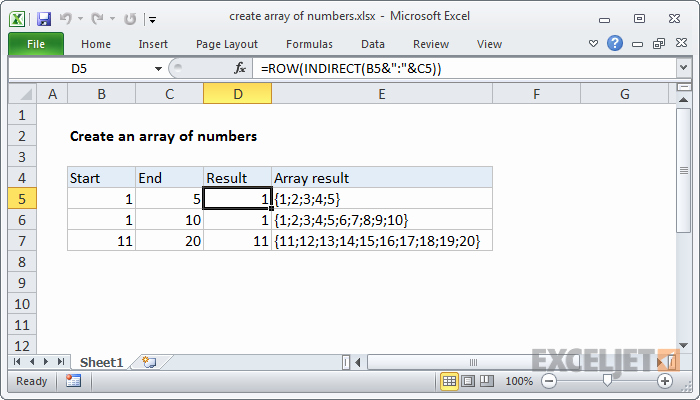 How to Create Excel formulas Elegant Excel formula Create Array Of Numbers