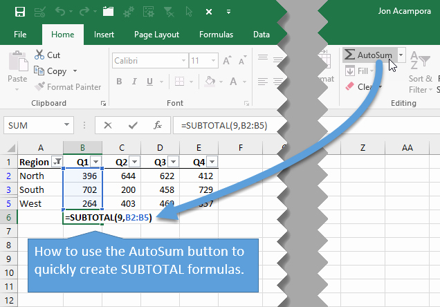 How to Create Excel formulas Luxury Create Subtotal formulas with the Autosum button or