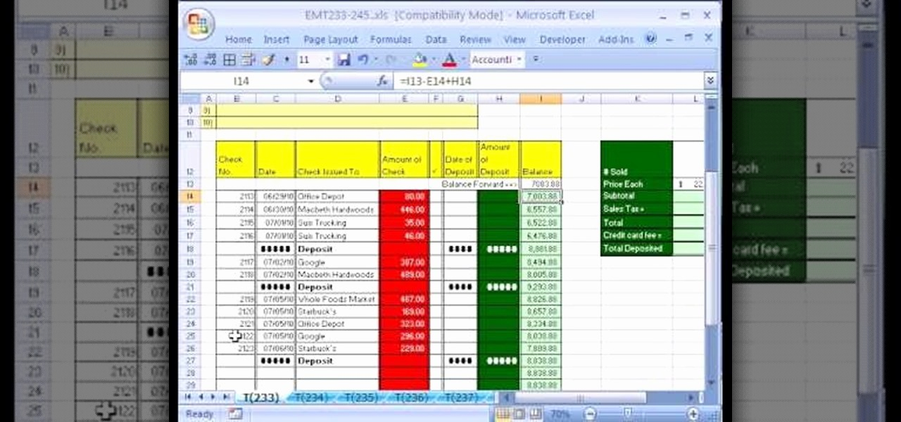 How to Create Excel formulas New How to Create A Checkbook Balancing formula In Excel