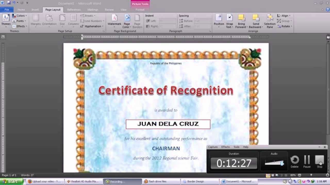 How to Design A Certificate Awesome Making Certificate Using Microsoft Word 2010