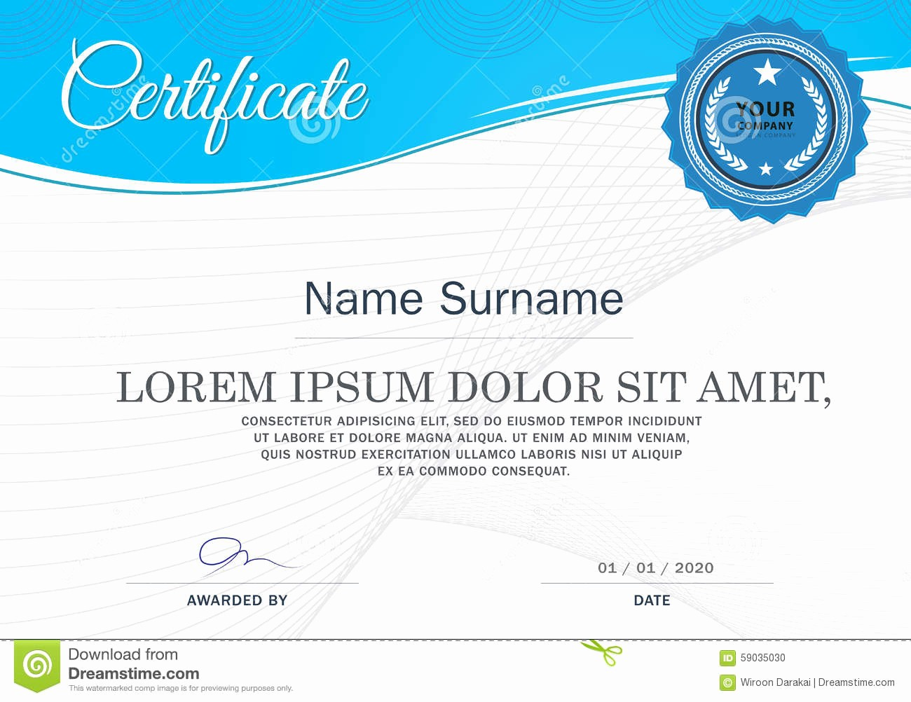 How to Design A Certificate Beautiful Certificate Achievement Frame Design Template Blue