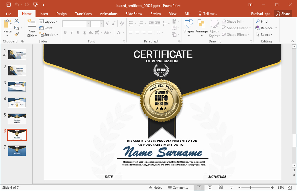 How to Design A Certificate Elegant Animated Certificate Powerpoint Template
