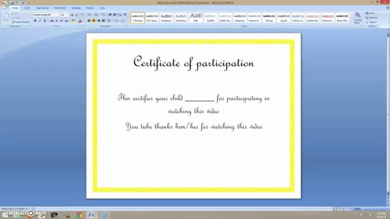 How to Design A Certificate Unique How to Create A Certificate On Ms Word 2007