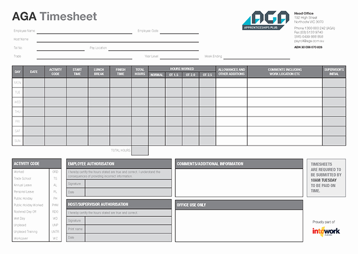 How to Do A Timesheet Fresh Timesheet for Apprentices & Trainees Aga