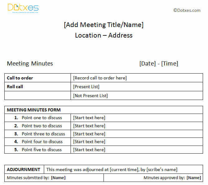How to Document Meeting Minutes Unique Meeting Minutes Sample Plain Table format Dotxes