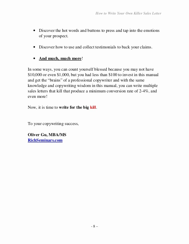 How to Draft A Memo Unique How to Write Your Own Seller Letter