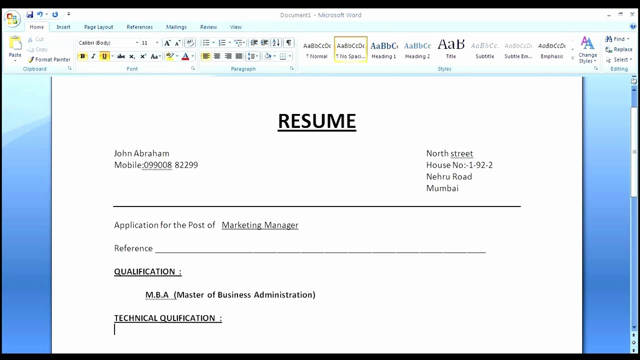 How to form A Resume Best Of How to Create Simple normal Resume for Job Apply – Perfect