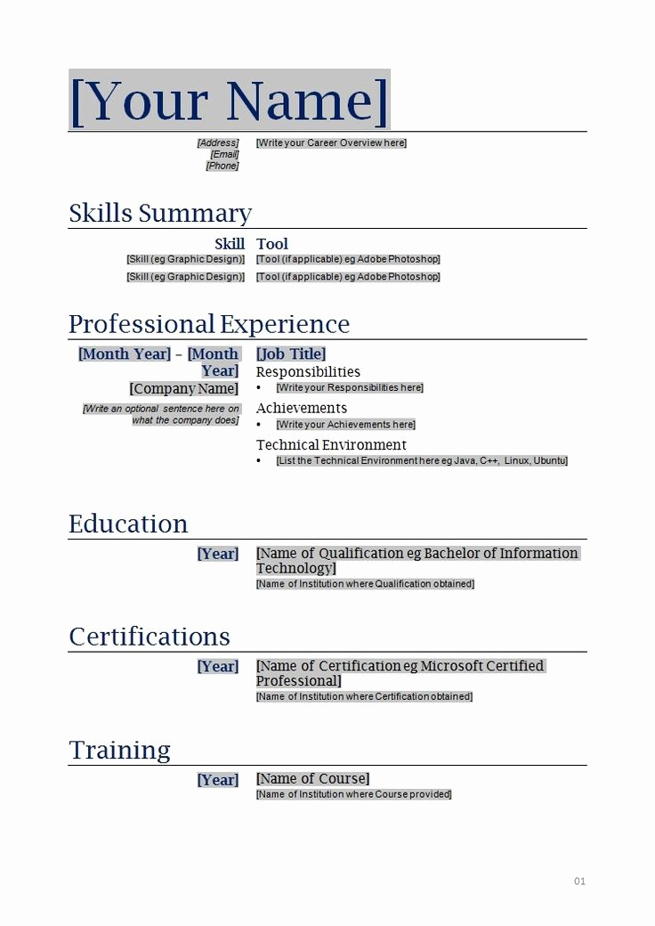 How to form A Resume Elegant Free Printable Blank Resume forms 792 topresume