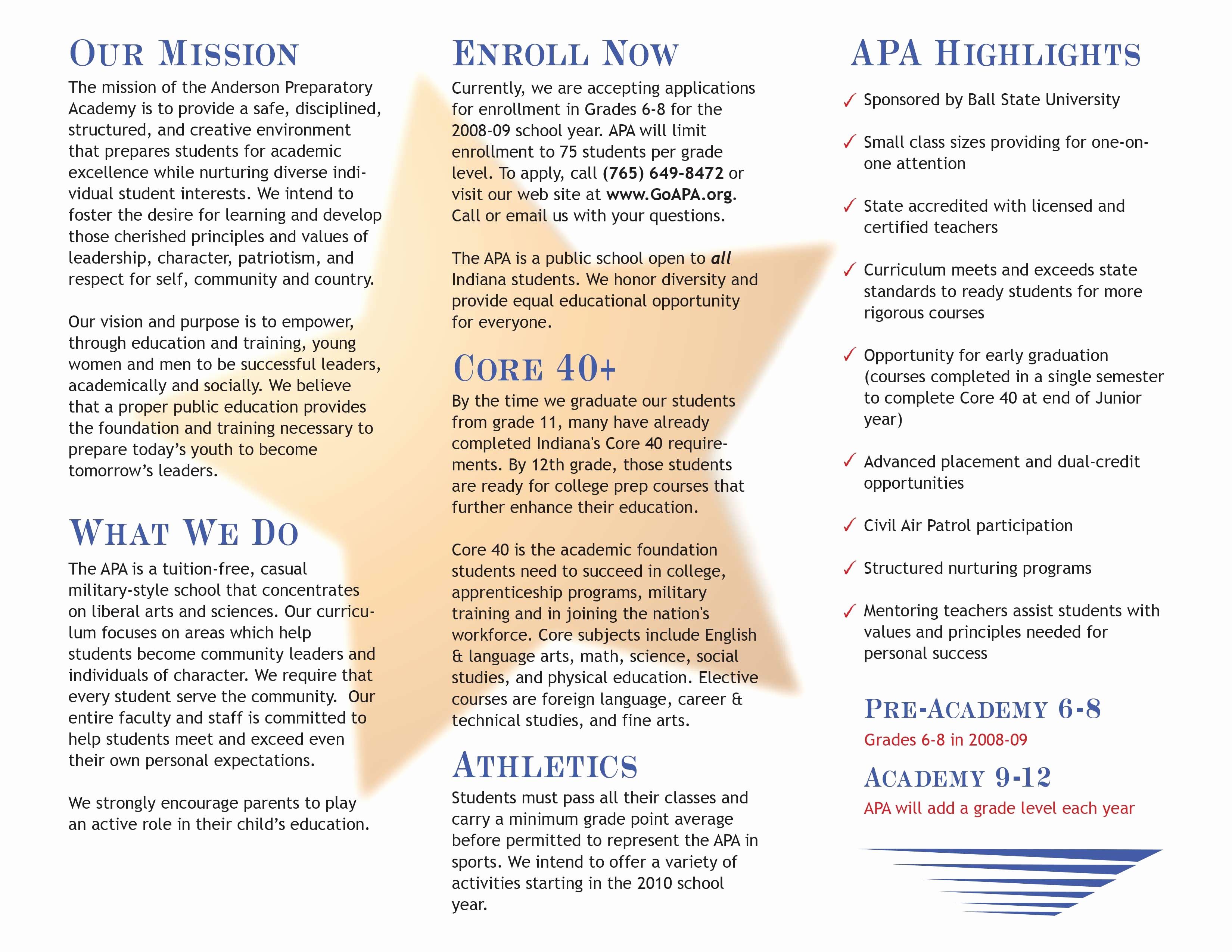 How to format A Brochure Fresh anderson Preparatory Academy – toddbaldridge
