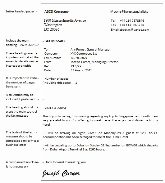 How to format A Fax Elegant 5 Best Of Sample Fax Letter format Sample Fax