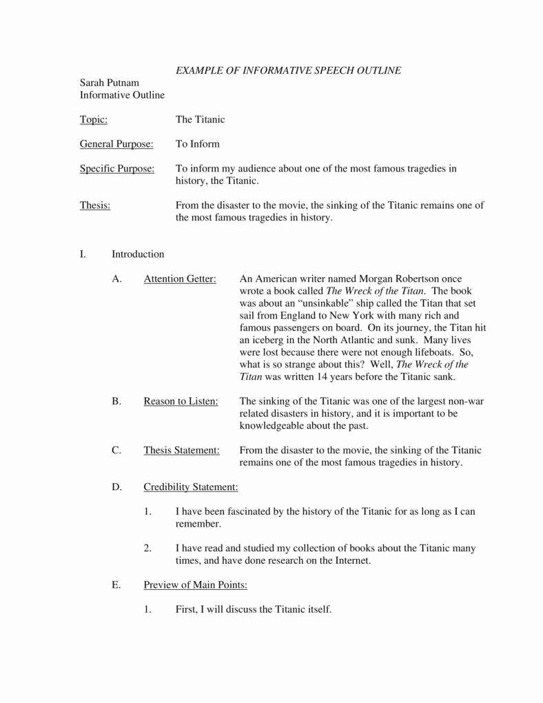 How to format A Speech Awesome 7 Informative Speech Outline Templates Pdf