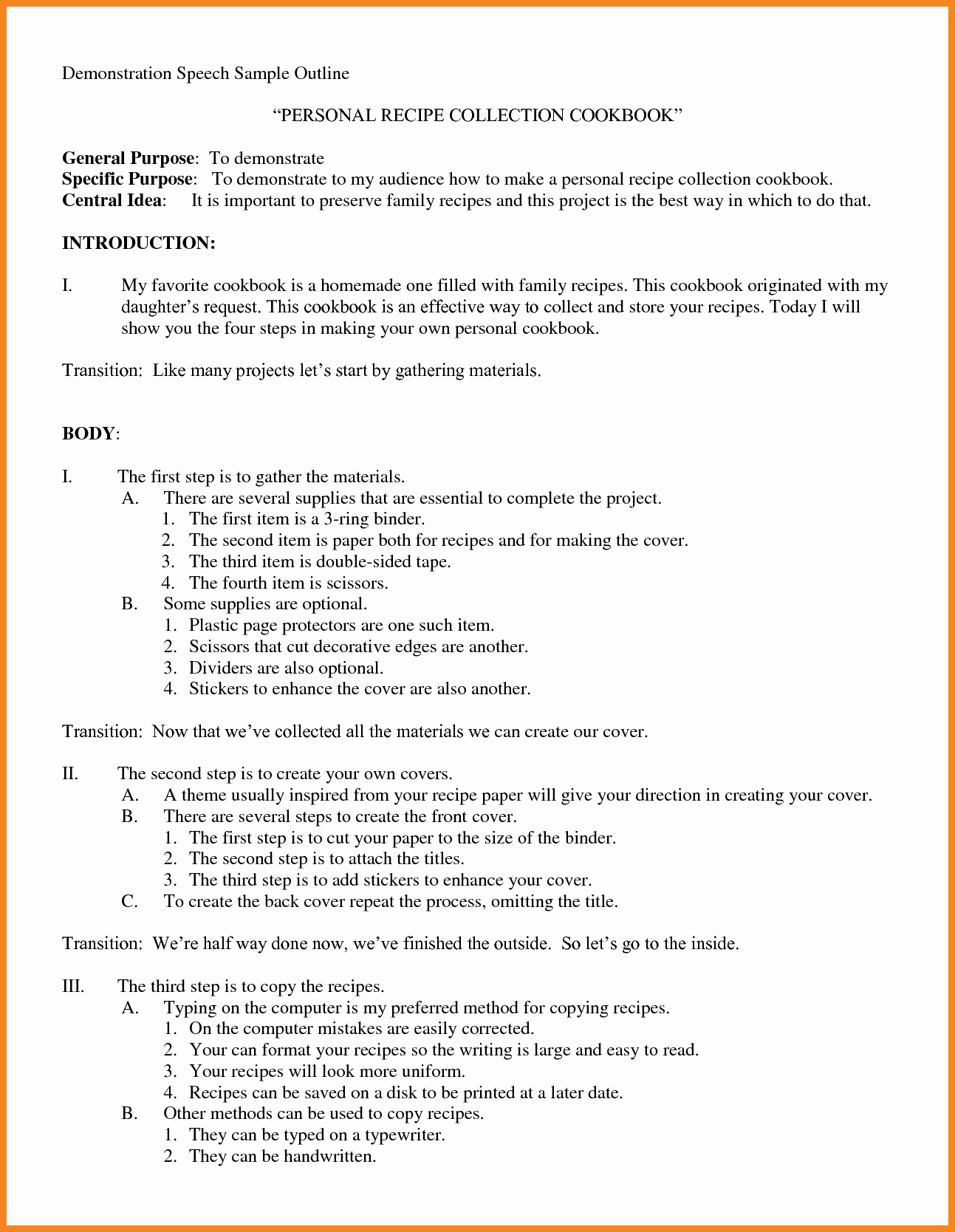 How to format A Speech Lovely Expository Speech Outline Bamboodownunder