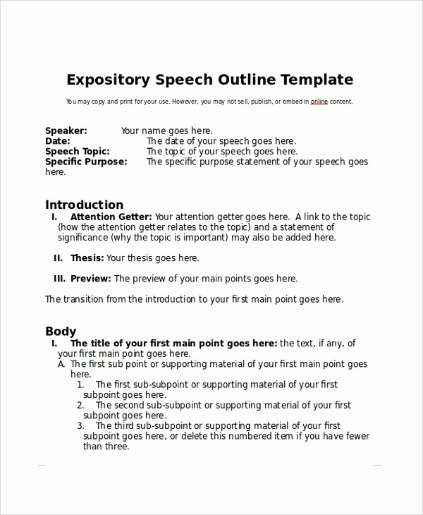 How to format A Speech Luxury 8 Sample Speech Outline Examples