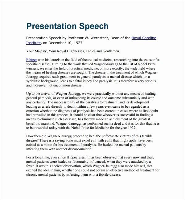 How to format A Speech New 8 Presentation Speech Example Templates