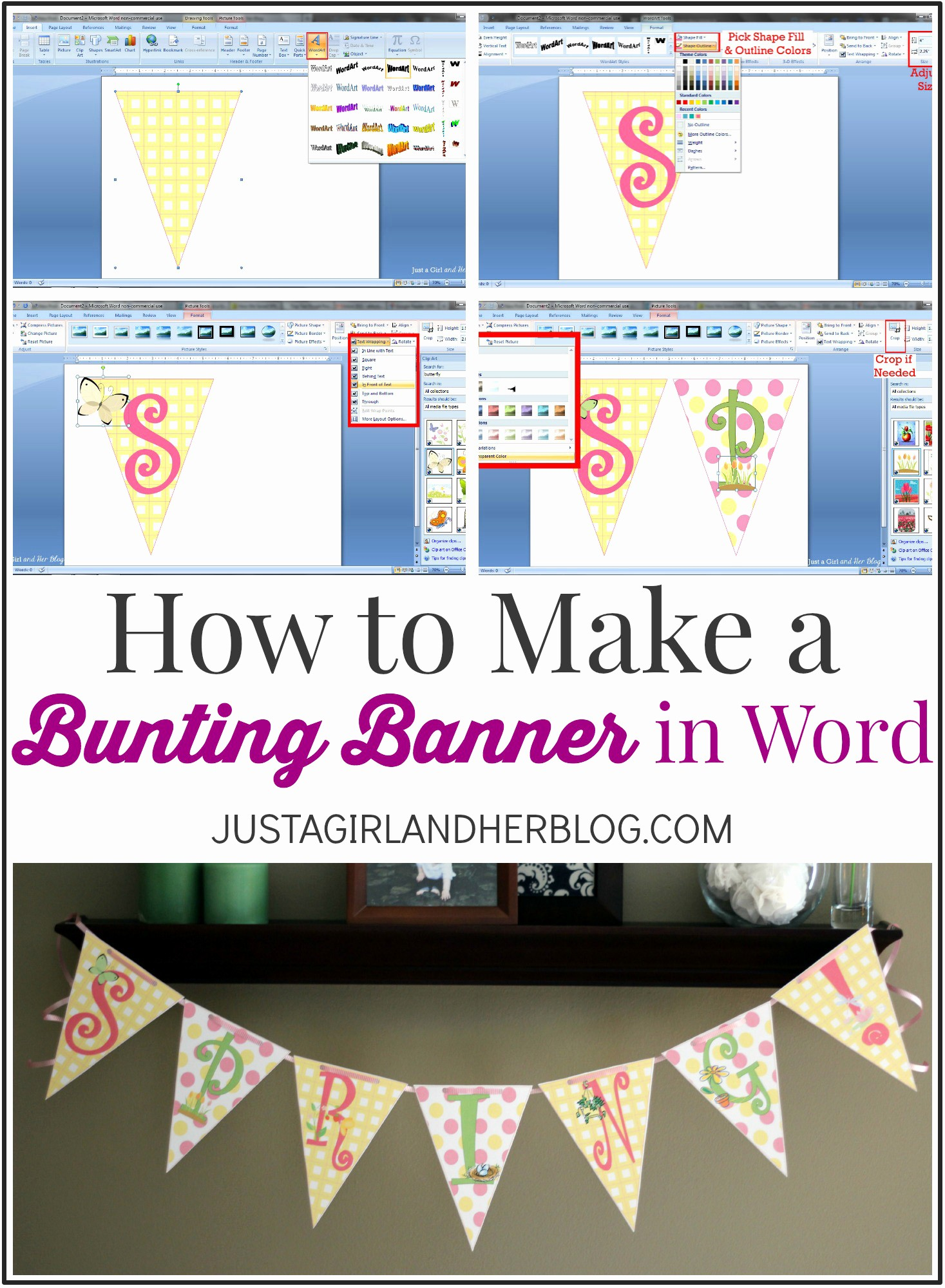 How to Make Banner Letters Best Of How to Make A Bunting Banner In Word with Clip Art Tips